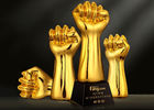 Fist Shape Resin Trophy Cup Gold Electroplated For Outstanding Staff / Employees
