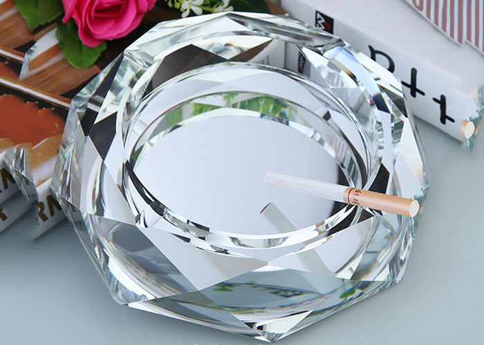 Clear Crystal Home Decorations Crafts Ashtray With Cigar Holders Custom Size