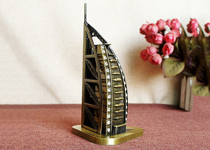 Bronze Plated DIY Craft Gifts World Famous Building Model Of Burj Al Arab Hotel